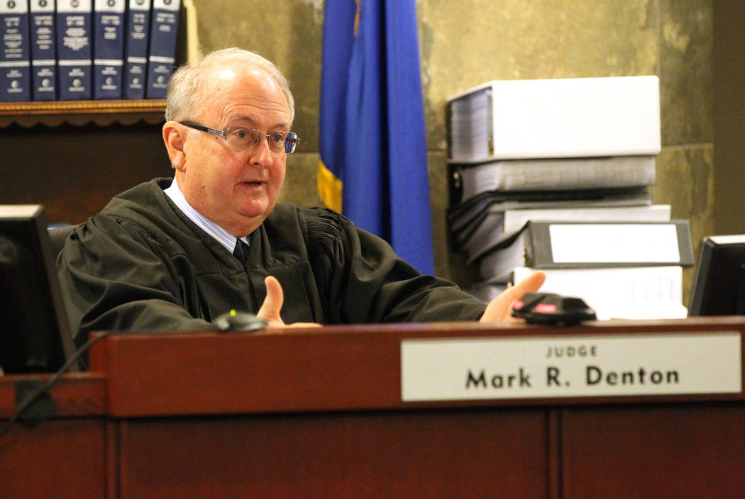 Judge Mark Denton presides over David Copperfield's civil trial at the Regional Justice Center in Las Vegas Tuesday, April 17, 2018. A British man was injured during a magic trick where Copperfiel ...
