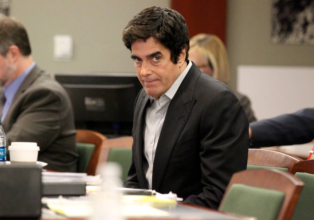 David Copperfield appears during his civil trial at the Regional Justice Center in Las Vegas Tuesday, April 17, 2018. A British man was injured during a magic trick where Copperfield appears to ma ...
