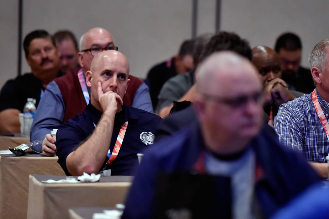 Attendees listen during the International Tourism Security Conference at the Treasure Island hotel-casino on Tuesday, April 17, 2018, in Las Vegas. David Becker/Las Vegas Review-Journal Follow @d ...