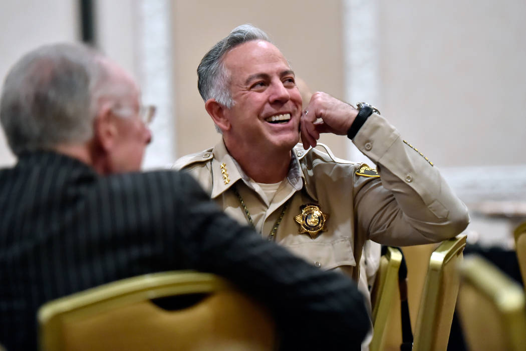 Clark County Sheriff Joseph Lombardo attends the networking luncheon before receiving a public service award for his leadership during the Oct. 1 shooting during the International Tourism Security ...