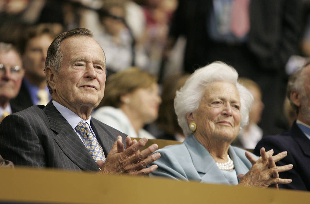 RJ FILE*** JOHN LOCHER/REVIEW-JOURNAL Former President George H.W. Bush, left, and his wife Barbara Bush attend the second day of the Republican National Convention at the Xcel Energy Center in ...