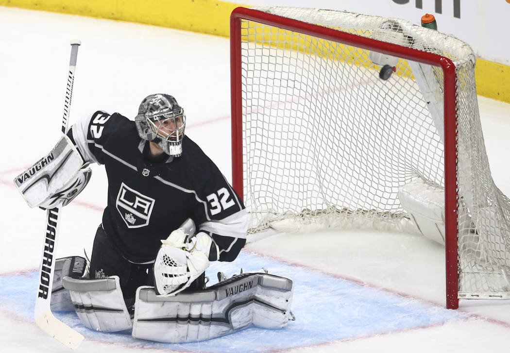 Los Angeles Kings goaltender Jonathan Quick (32) blocks a shot from the Golden Knights during the first period of Game 4 of an NHL hockey first-round playoff series at the Staples Center in Los An ...