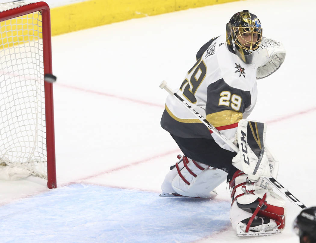 Golden Knights goaltender Marc-Andre Fleury (29) blocks a shot from the Los Angeles Kings during the first period of Game 4 of an NHL hockey first-round playoff series at the Staples Center in Los ...