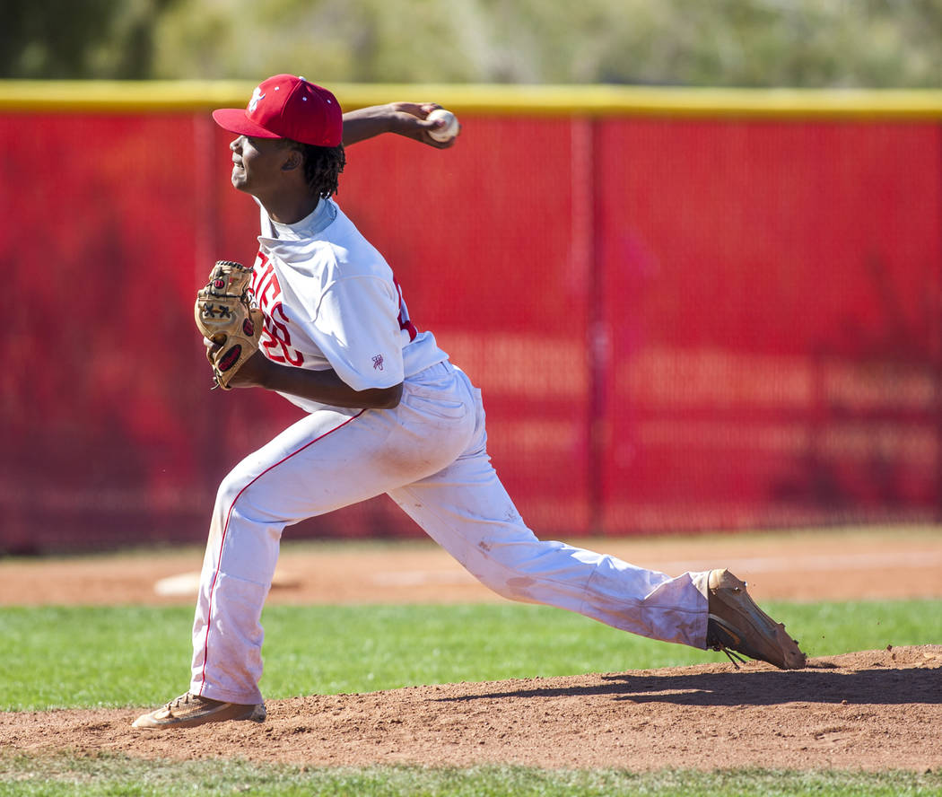 Arbor View pitcher Niles Scafati pitches against Faith Lutheran during the third inning at Arbor View High School in Las Vegas on Tuesday, April 17, 2018. Arbor View won 11-5. Patrick Connolly L ...