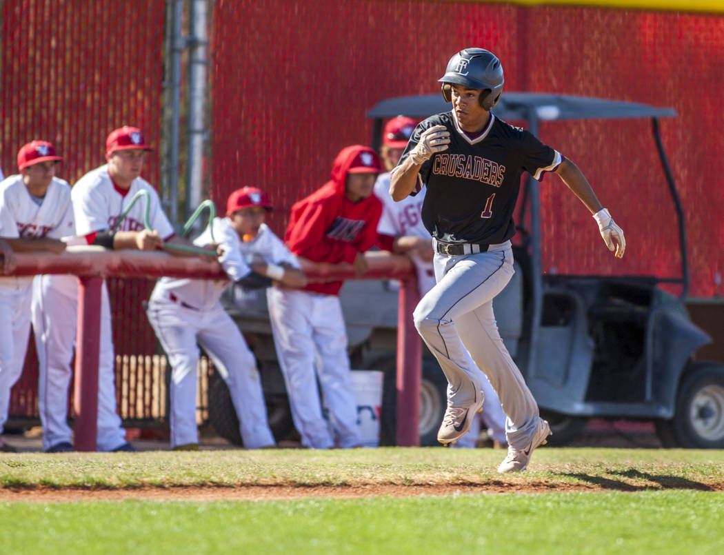 Faith Lutheran outfielder Dylan Schafer runs toward home during the third inning at Arbor View High School in Las Vegas on Tuesday, April 17, 2018. Arbor View won 11-5. Patrick Connolly Las Vega ...