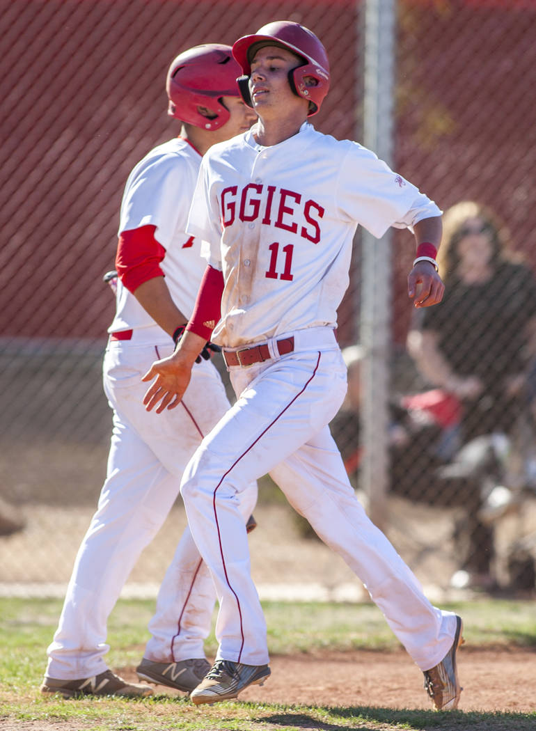 Arbor View's Tyler Whitaker crosses home plate while playing against Faith Lutheran during the third inning at Arbor View High School in Las Vegas on Tuesday, April 17, 2018. Arbor View won 11-5. ...