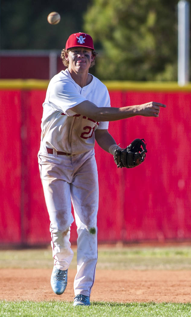 Arbor View infielder Austin Pfeifer looks for a play at first while playing against Faith Lutheran in the sixth inning at Arbor View High School in Las Vegas on Tuesday, April 17, 2018. Arbor View ...
