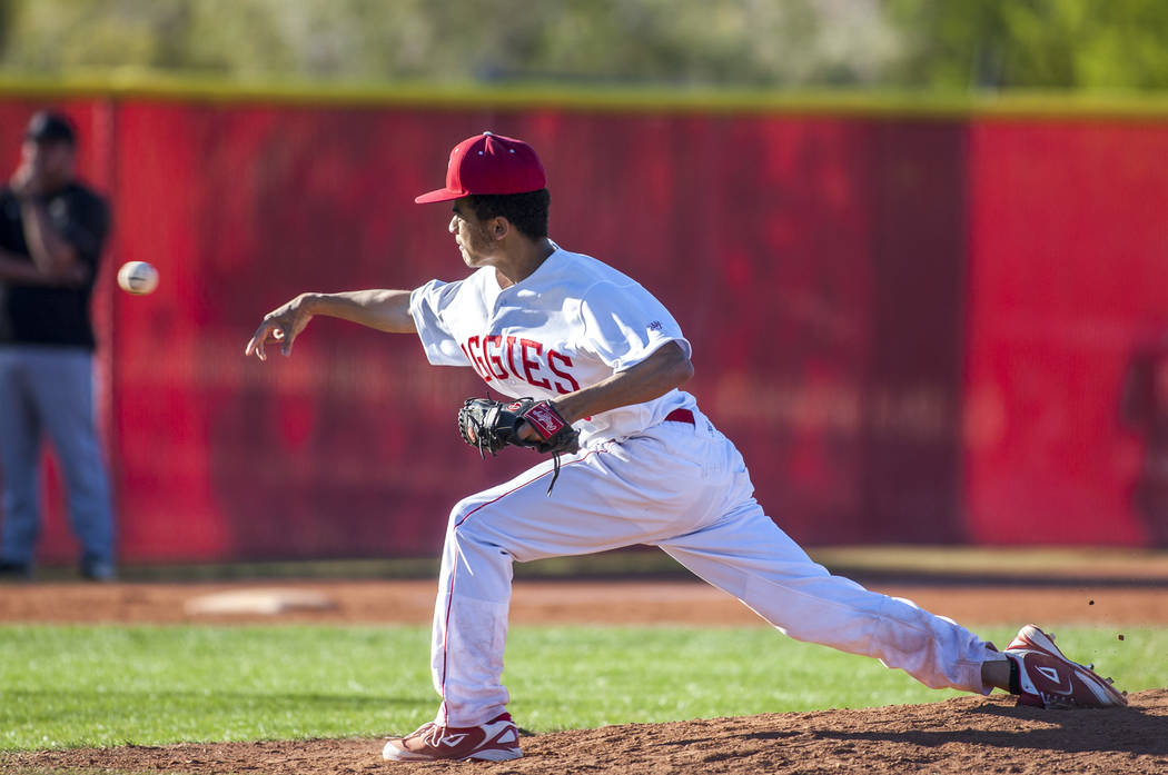 Arbor View pitcher Ethan Anderson pitches against Faith Lutheran in the seventh inning at Arbor View High School in Las Vegas on Tuesday, April 17, 2018. Arbor View won 11-5. Patrick Connolly La ...
