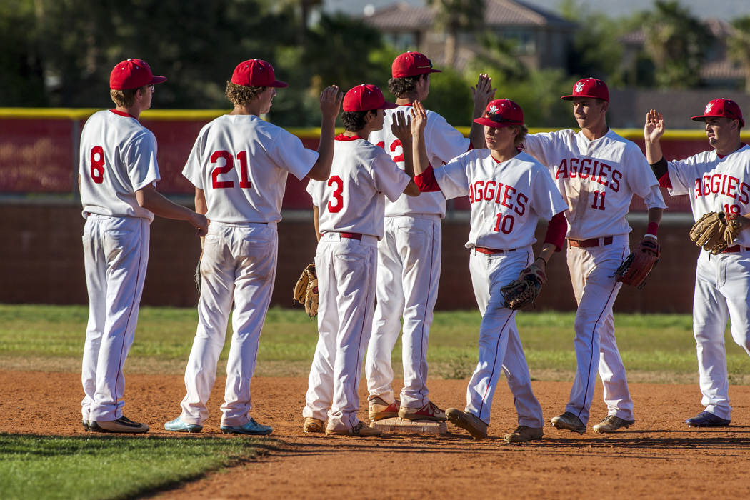 Arbor View players celebrate after defeating Faith Lutheran 11-5 at Arbor View High School in Las Vegas on Tuesday, April 17, 2018. Patrick Connolly Las Vegas Review-Journal @PConnPie