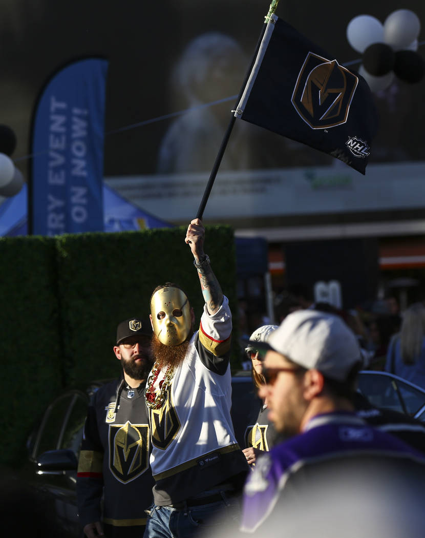 Golden Knights fan Chris O'Gane heads to the Staples Center ahead of Game 4 of an NHL hockey first-round playoff series against the Los Angeles Kings on Tuesday, April 17, 2018. Chase Stevens Las ...