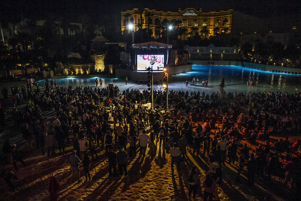 Golden Knights fans watch game four of Vegas' playoff series with the Los Angeles Kings at the Mandalay Bay hotel-casino on Tuesday, April 17, 2018, in Las Vegas. Benjamin Hager Las Vegas Review-J ...
