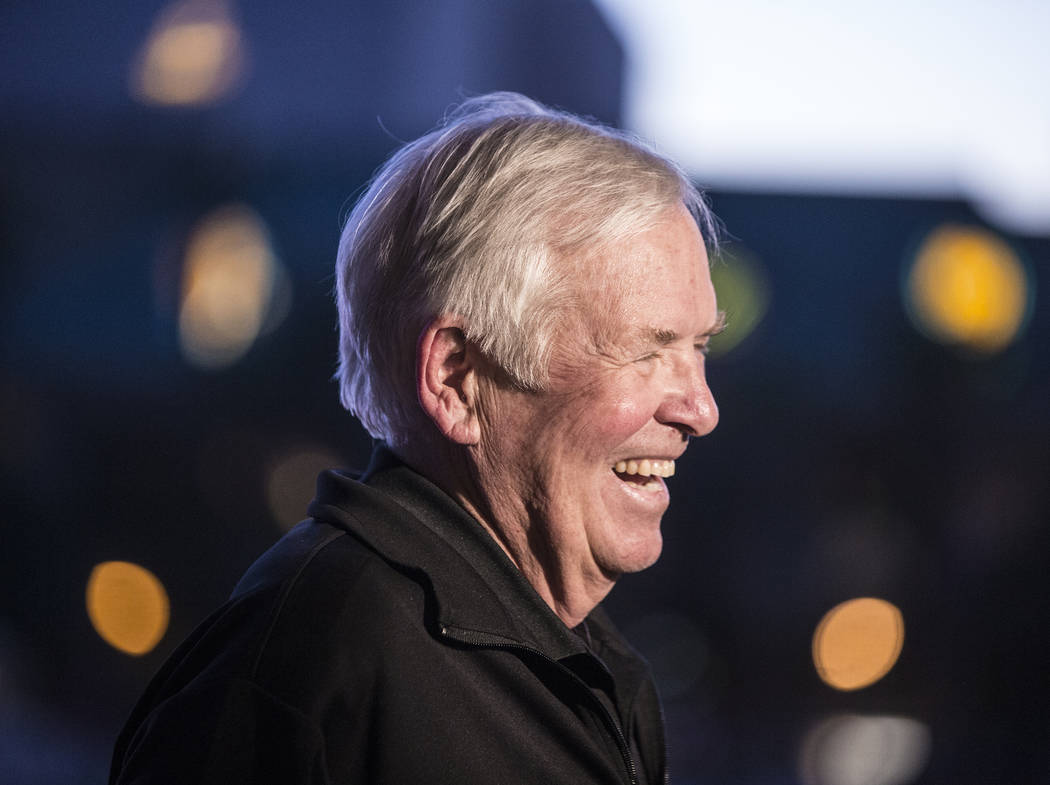 Golden Knights owner Bill Foley is all smiles before the start of Vegas' game four playoff matchup with the Los Angeles Kings during a watch party at the Mandalay Bay hotel-casino on Tuesday, Apri ...