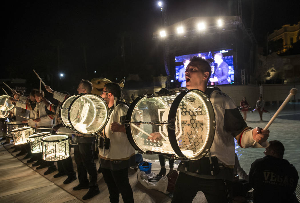 The Knightline drummers perform between periods during the Golden Knights game four playoff matchup with the Los Angeles Kings at a watch party at the Mandalay Bay hotel-casino on Tuesday, April ...