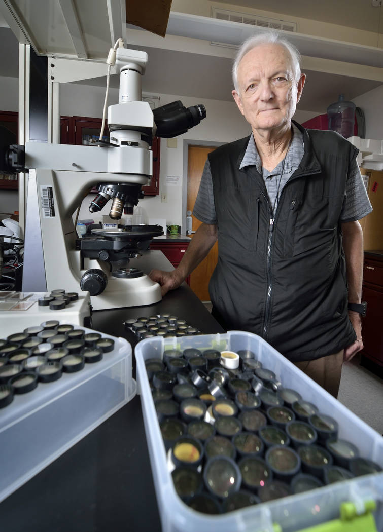 Eugene Smith, professor emeritus of geology at UNLV, is shown in the cryptotephra lab on the university campus at 4505 S. Maryland Parkway in Las Vegas on Friday, April 13, 2018. Smith founded the ...