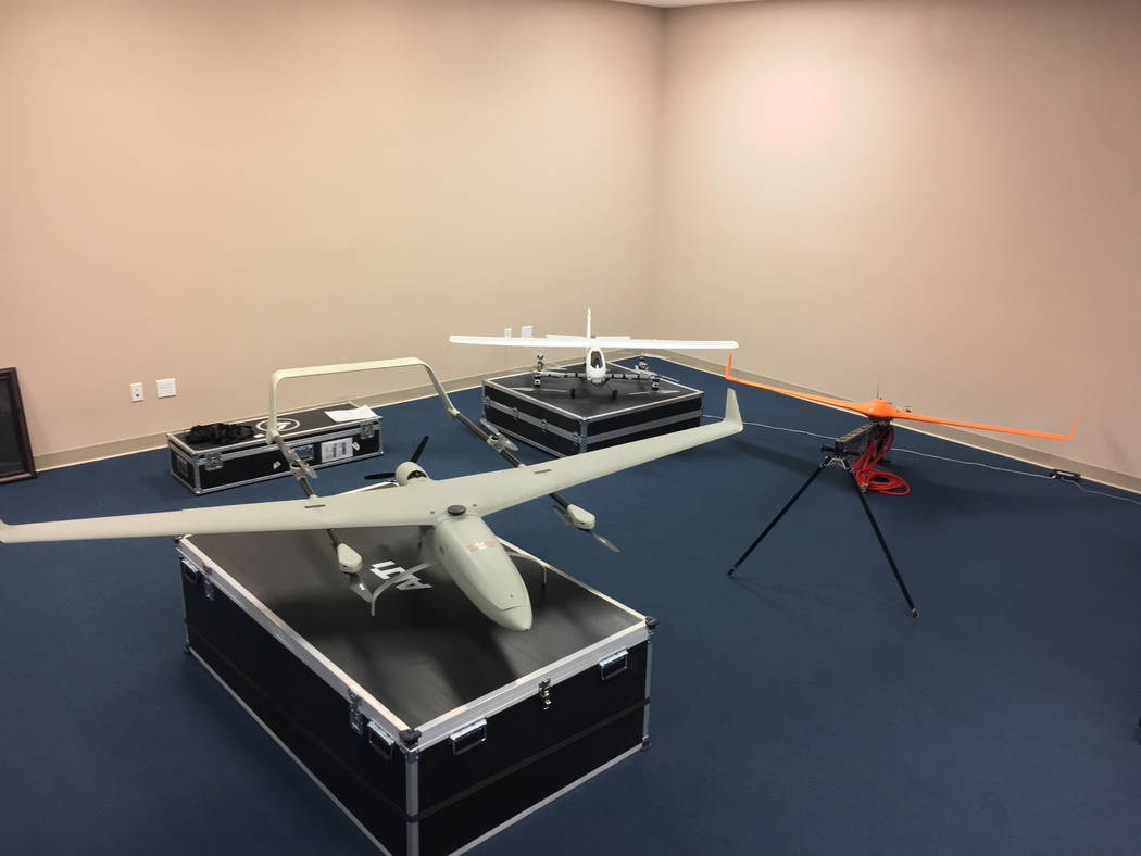 Three drones sit inside PACI's facility in Henderson. Photo courtesy of PACI, Inc.