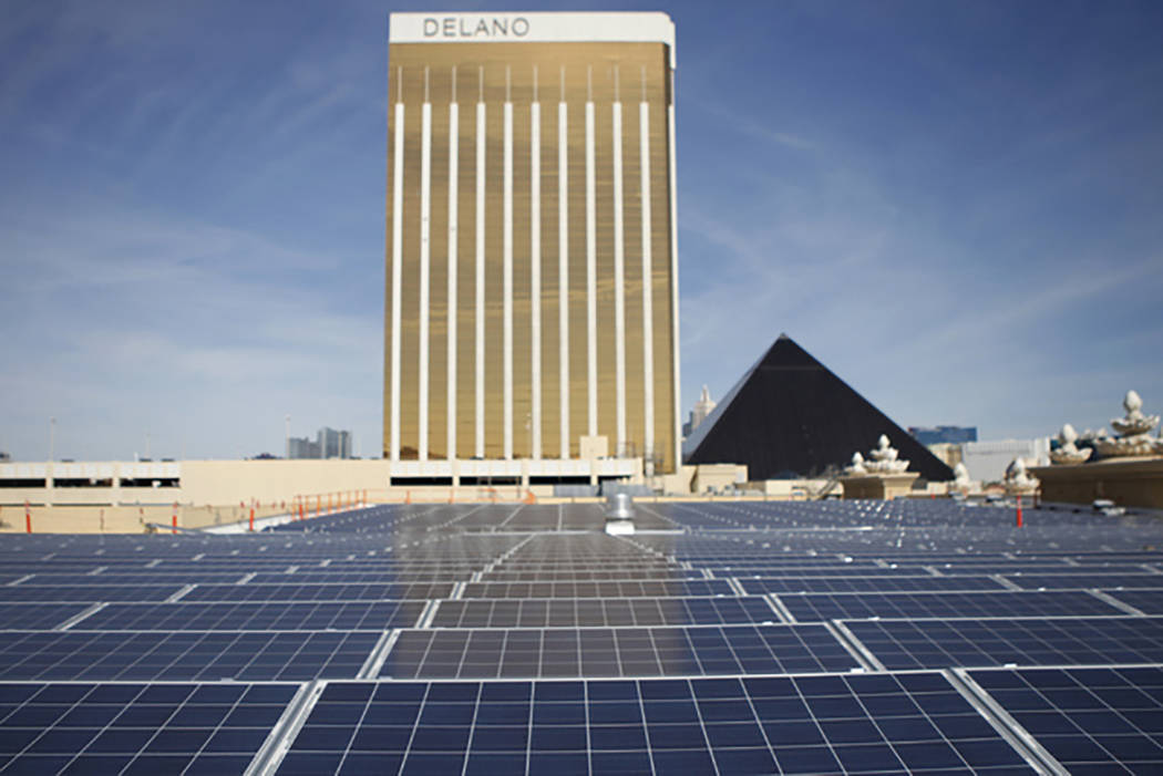 Solar panels are seen on the roof of Mandalay Bay Convention Center in Las Vegas in this file photo. (Erik Verduzco/Las Vegas Review-Journal)