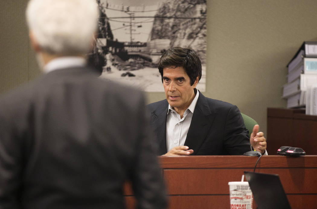 Magician David Copperfield takes the stand during his civil trial at the Regional Justice Center in Las Vegas, Wednesday, April 18, 2018. Rachel Aston Las Vegas Review-Journal @rookie__rae