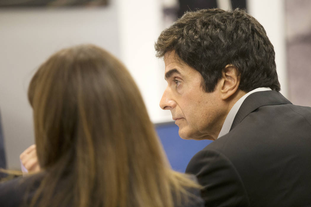 Magician David Copperfield waits to take the stand during his civil trial at the Regional Justice Center in Las Vegas, Wednesday, April 18, 2018. Rachel Aston Las Vegas Review-Journal @rookie__rae