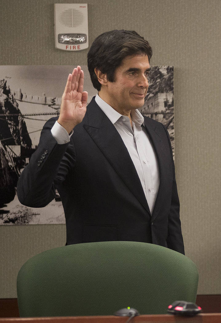 Magician David Copperfield is sworn in during his civil trial at the Regional Justice Center in Las Vegas, Wednesday, April 18, 2018. Rachel Aston Las Vegas Review-Journal @rookie__rae