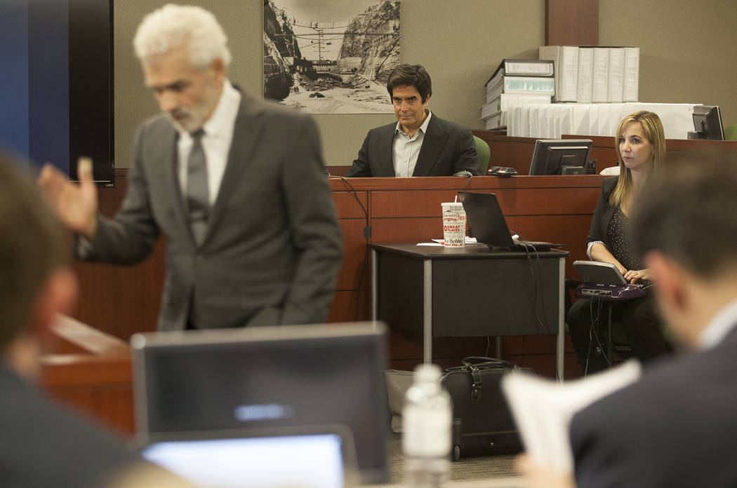 Attorney Benedict Morelli questions Magician David Copperfield during his civil trial at the Regional Justice Center in Las Vegas, Wednesday, April 18, 2018. Rachel Aston Las Vegas Review-Journal ...