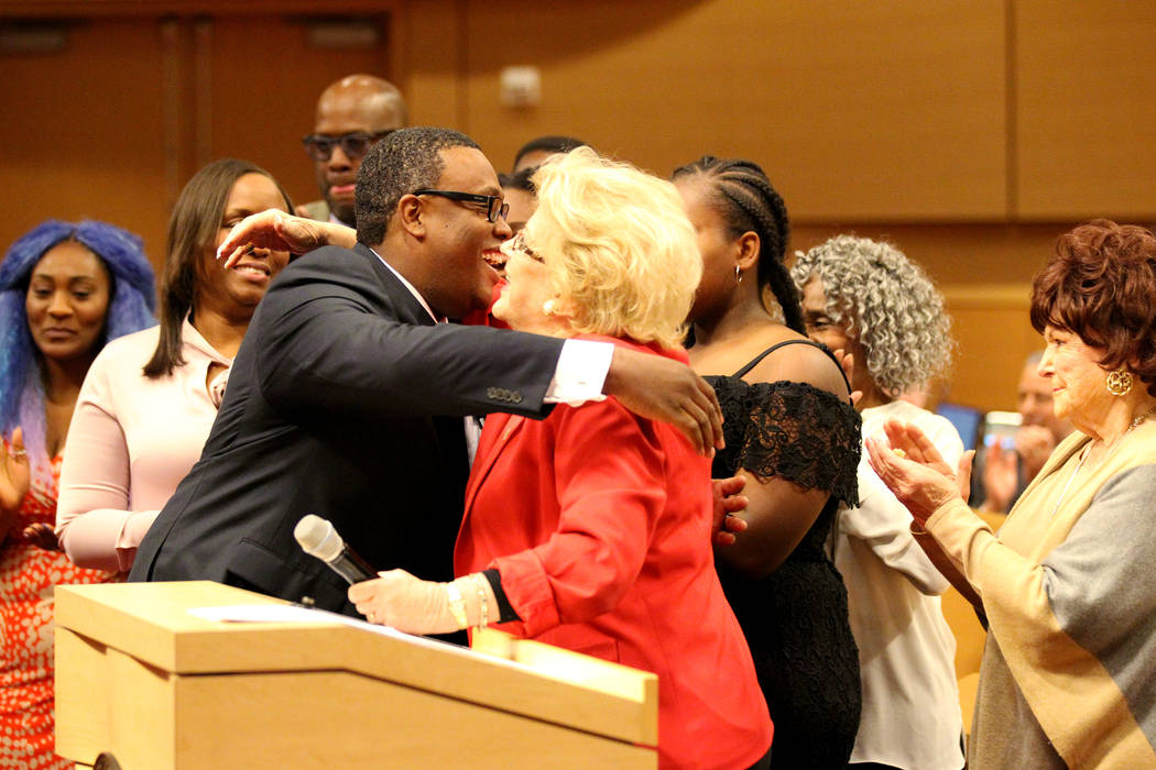 Las Vegas City Councilman Cedric Crear, left, hugs Mayor Carolyn Goodman after he was sworn in as Ward 5 councilman during a council meeting Wednesday, April 18, 2018. K.M. Cannon Las Vegas Review ...