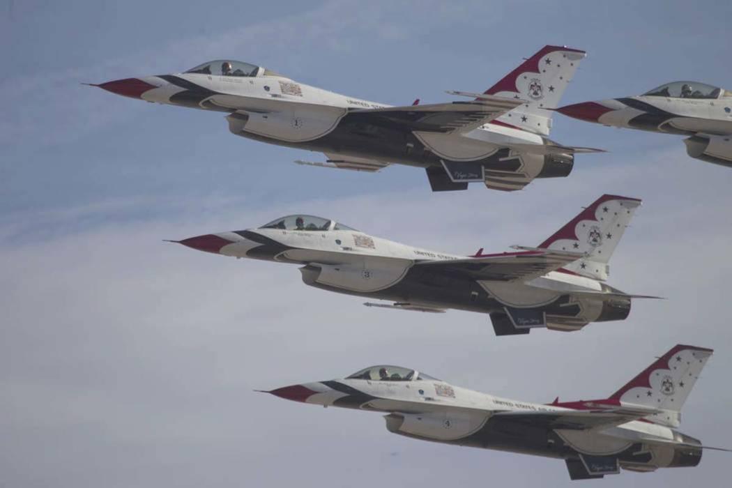 The Thunderbirds perform during Aviation Nation at Nellis Air Force Base in Las Vegas, Saturday, Nov. 11, 2017. (Erik Verduzco/Las Vegas Review-Journal) @Erik_Verduzco