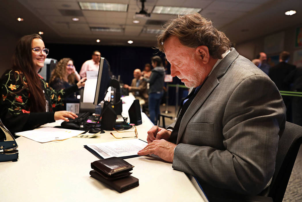 Defense lawyer Robert Langford files for candidacy for district attorney at the Clark County Government Center in Las Vegas on Friday, March 16, 2018. Andrea Cornejo Las Vegas Review-Journal @Drea ...