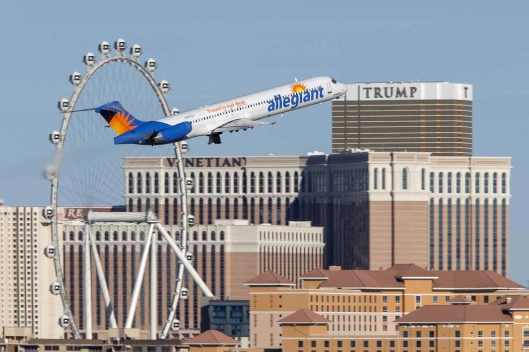 An Allegiant Air flight departs from McCarran International Airport in Las Vegas, Sunday, January 28, 2018. (Richard Brian/Las Vegas Review-Journal) @vegasphotograph