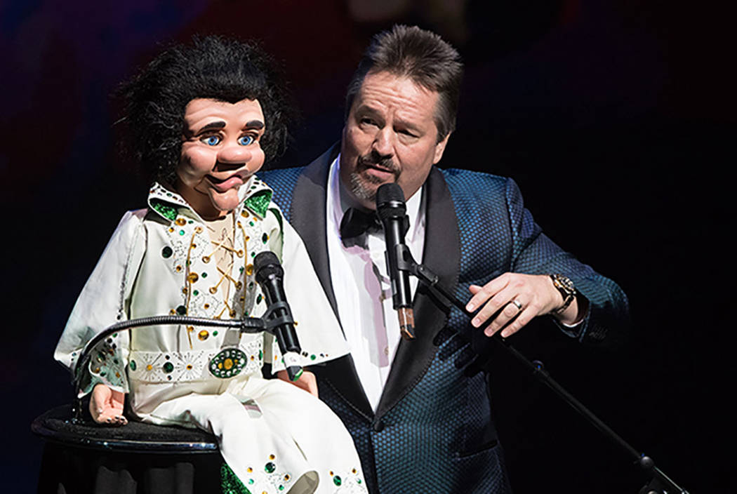 Terry Fator performs with the Elvis impressionist puppet Maynard Tompkins during Heal Every Life Possible in 2016 at The Luxor. (Tom Donoghue)