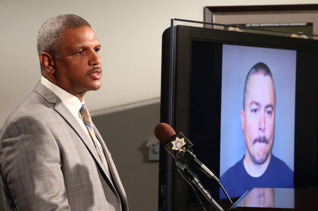 A photo of Anthony Wrobel is shown on a TV as Las Vegas Metro Police Capt. Robert Plummer speaks about the arrest of Wrobel during a press conference on Thursday, April 19, 2018, in Las Vegas. Wro ...