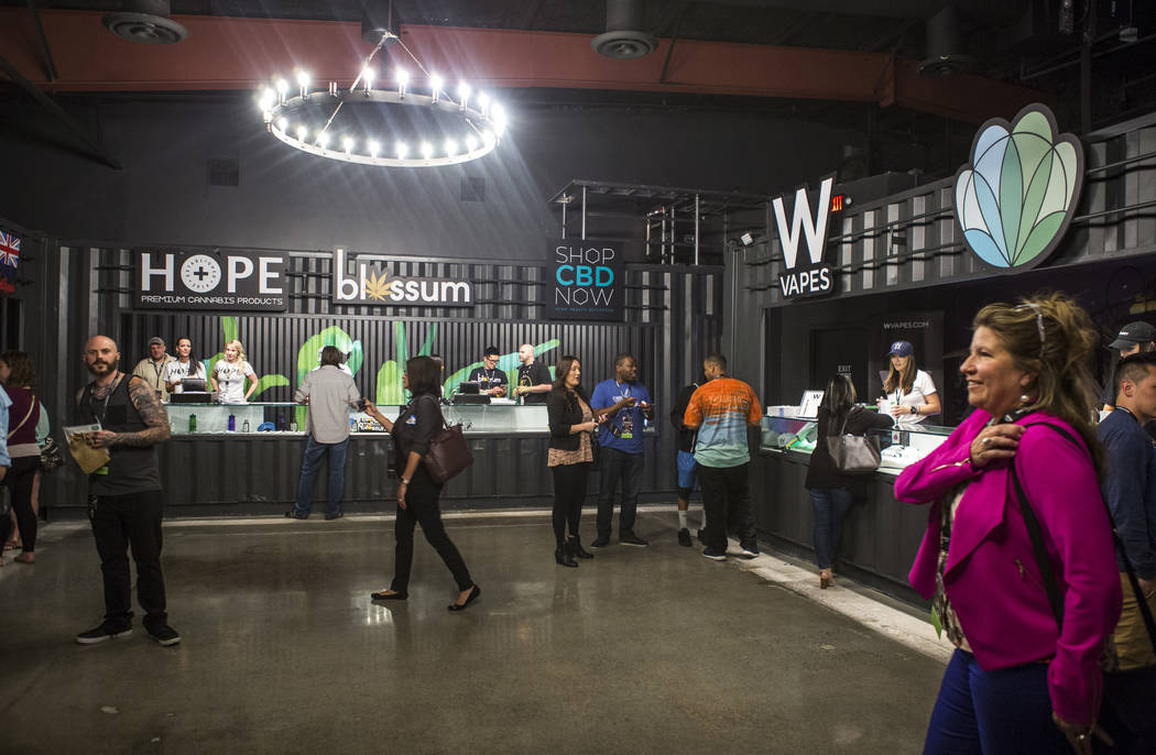 Customers browse a selection of cannabis products at the newly opened Underground Marijuana Famers Market at Acres Dispensary on Friday, April 23, 2018. Patrick Connolly Las Vegas Review-Journal ...