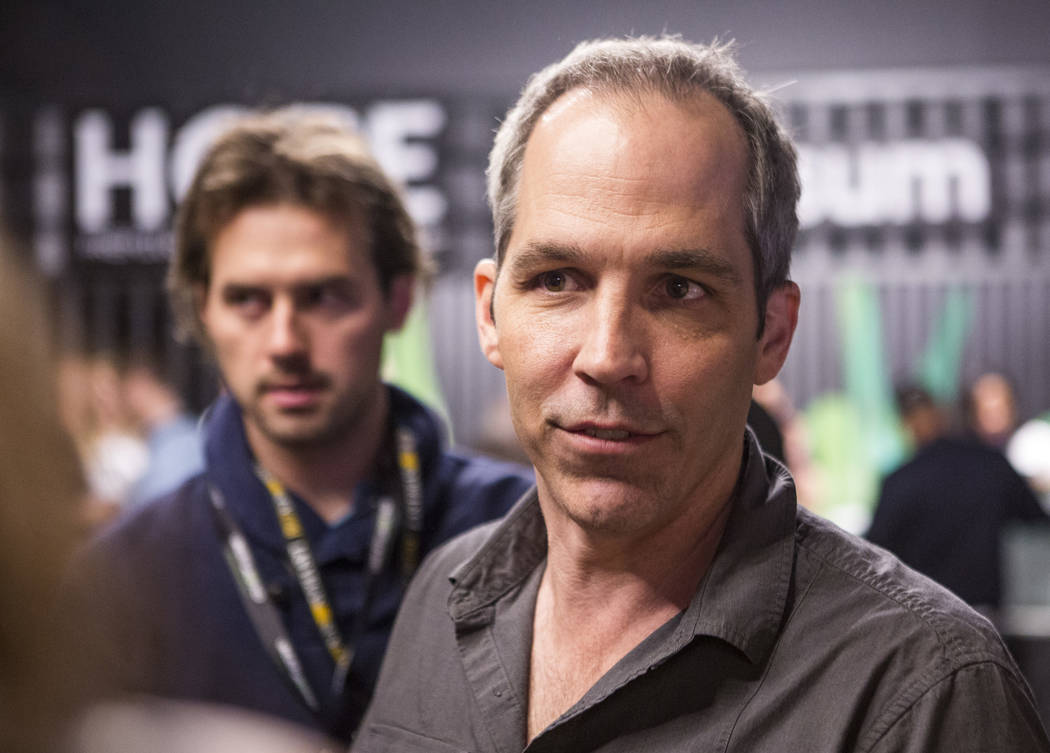 John Mueller, founder and CEO of Acres Dispensary, talks with reporters during a cannabis media tour at Acres Dispensary on Friday, April 23, 2018. Patrick Connolly Las Vegas Review-Journal @PCo ...