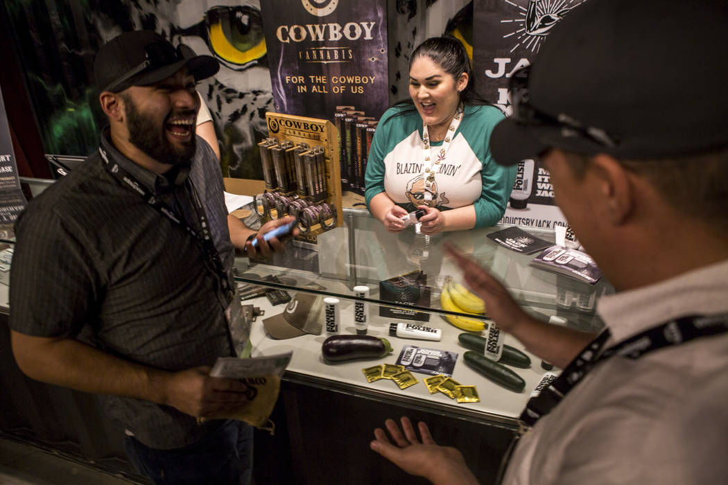 Krista Whitley, founder and CEO of Altitude Products, talks with customers about a product called Knob Polish at Acres Dispensary on Friday, April 23, 2018. Patrick Connolly Las Vegas Review-Jou ...