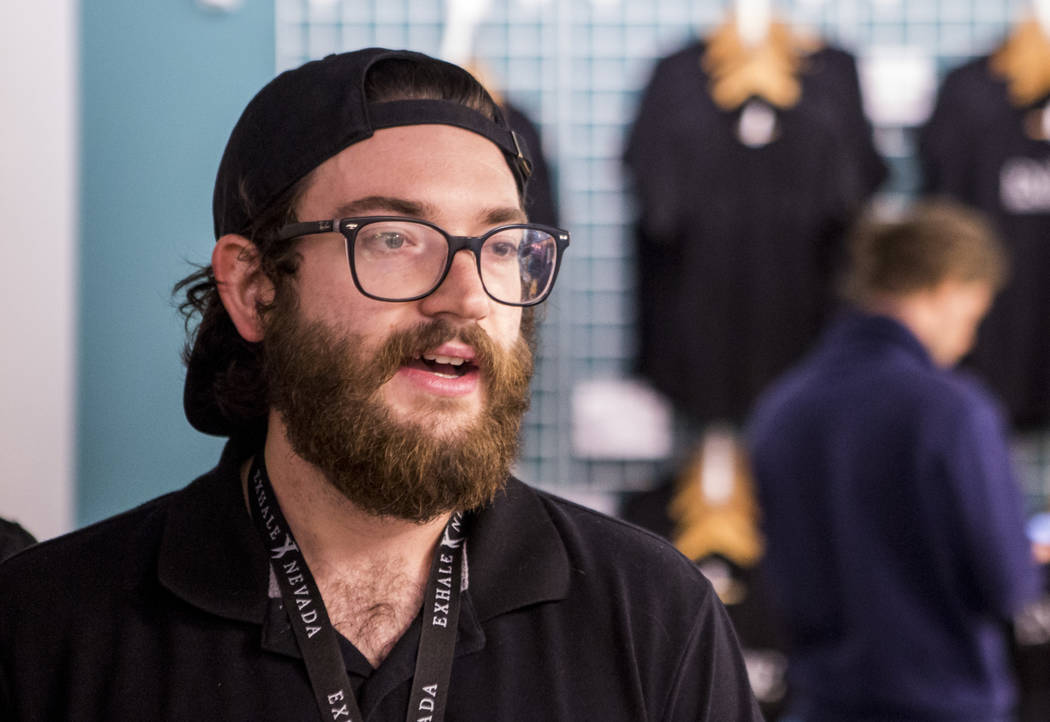 Parker Junger, marketing coordinator with Exhale Nevada, talks with reporters during a cannabis media tour at Exhale Nevada on Friday, April 23, 2018. Patrick Connolly Las Vegas Review-Journal @ ...