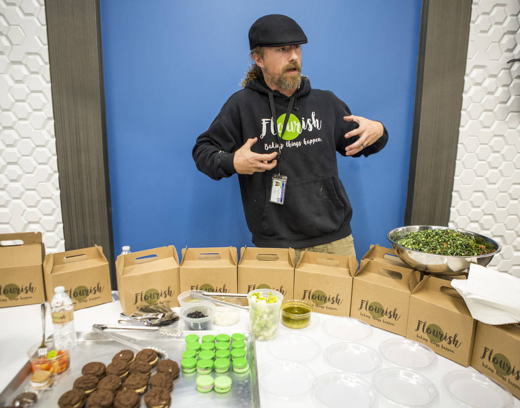 Cannabis chef Payton Curry, founder of Flourish Cannabis, talks with reporters about his food during a cannabis media tour at Exhale Nevada on Friday, April 23, 2018. Patrick Connolly Las Vegas ...