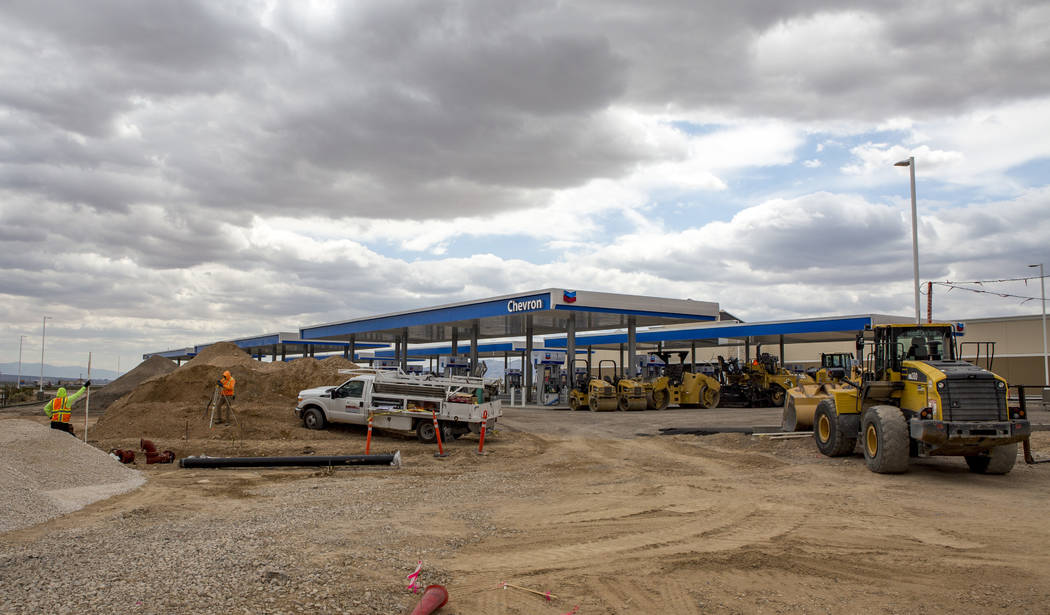 Construction is underway on the world's largest Chevron and travel center, including 96 gas pumps and totaling 50,000 square feet, in Jean near Interstate 15 on Thursday, April 19, 2018. Patrick ...
