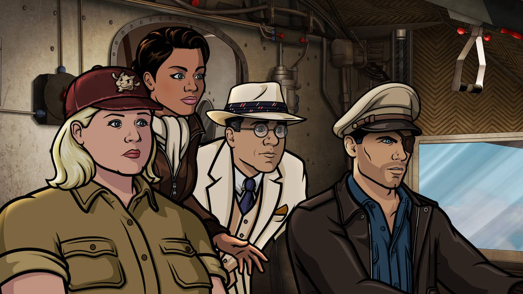 "ARCHER -- ""Season 9, Episode 1 -- Pictured (l-r): Pam Poovey (voice of Amber Nash), Princess Lanaluakalani (voice of Aisha Tyler), Siegbert Fuchs (voice of Chris Parnell), Sterling Archer (v ..."