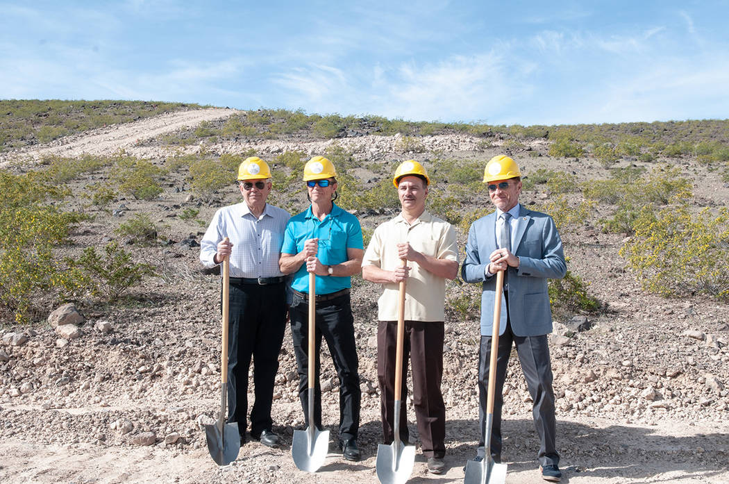 Bella Vista Estates' developers, from left, Edward Campagna, Louis McNabb and Chris Malandrino and Tim Buchanan with the city of Henderson break ground on the new luxury residential development ea ...