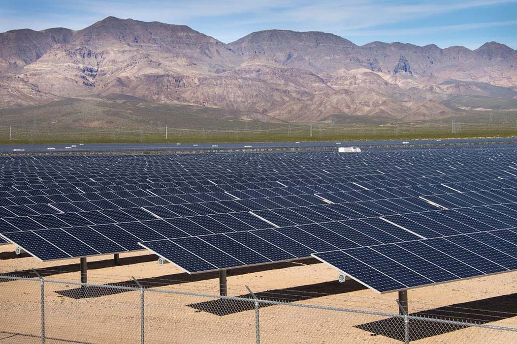 Rep. Jacky Rosen on Thursday, April 19, 2018, filed a bipartisan bill that would repeal the Trump administration's tariffs on solar panels. (NV Energy)