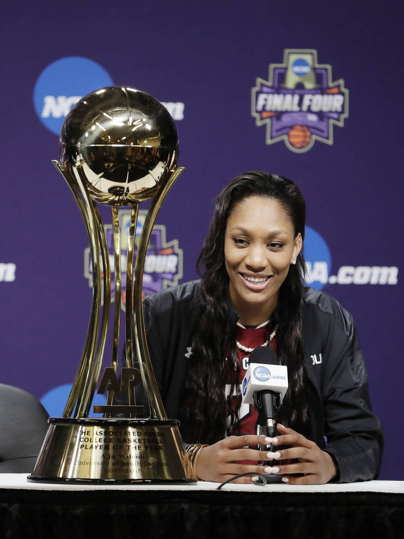 South Carolina's A'ja Wilson speaks after receiving The Associated Press' women's college basketball Player of the Year award at the NCAA women's Final Four college basketball tournament Thursday, ...