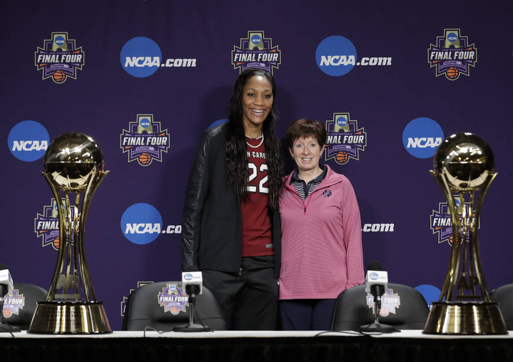 South Carolina's A'ja Wilson, The Associated Press' women's college basketball Player of the Year, and Notre Dame coach Muffet McGraw, AP's women's basketball Coach of the Year, pose at the NCAA w ...