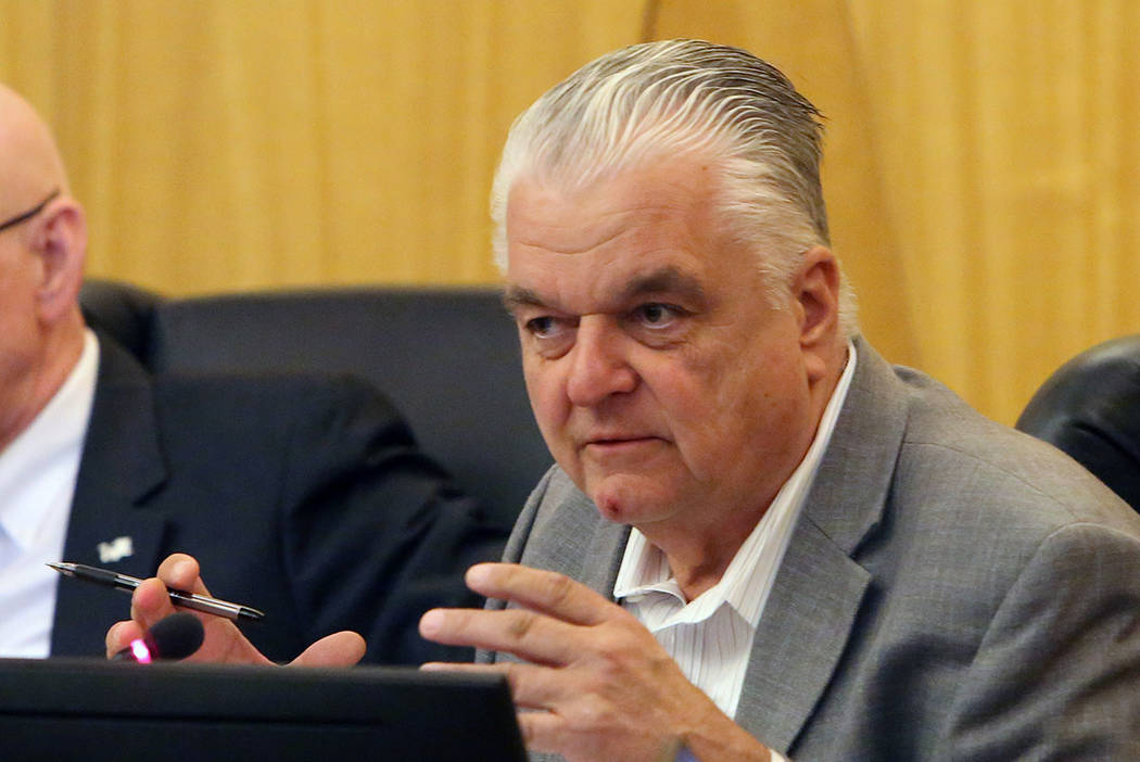 Clark County Commissioner Steve Sisolak speaks during a commission meeting to debate whether to get rid of the Henderson and North Las Vegas constables on Tuesday, April 17, 2018, in Las Vegas. Bi ...