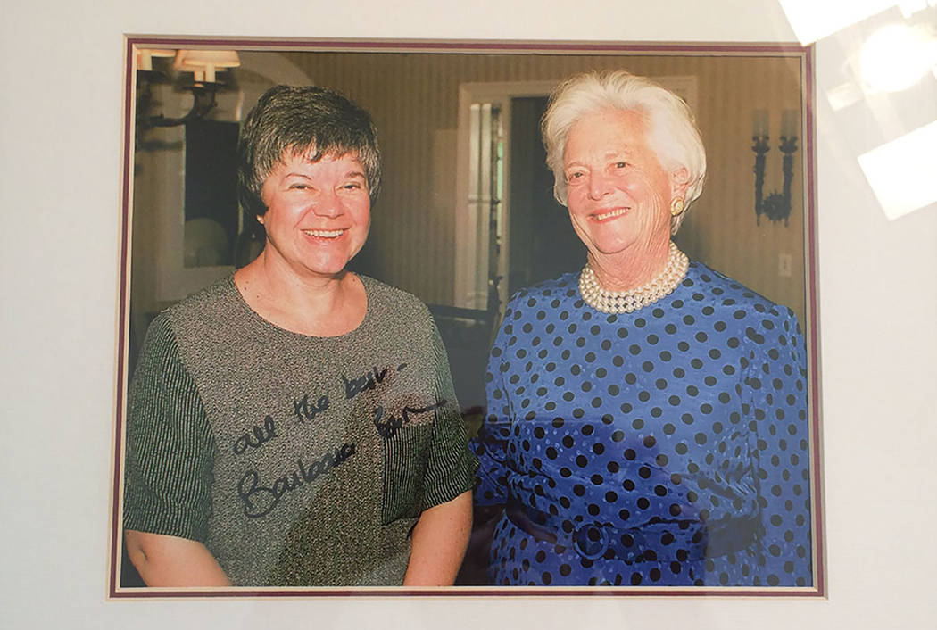 The late Barbara Bush, right, gave a 45-minute interview to then political reporter Jane Ann Morrison on Oct. 13, 1999. She was in Las Vegas fundraising for her son's presidential bid