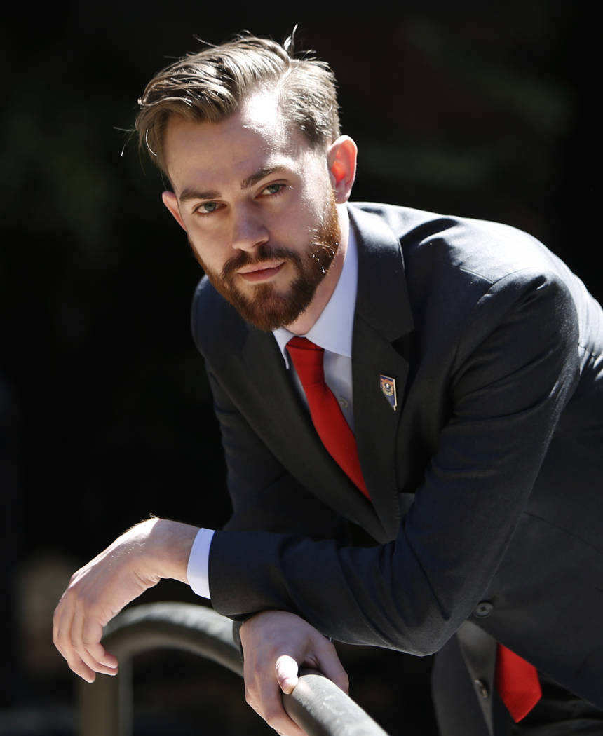 Paris Wade, who made national headlines for operating a fake news website and boasts about getting President Donald Trump elected in 2016, poses for photo after his interview with the Las Vegas Re ...