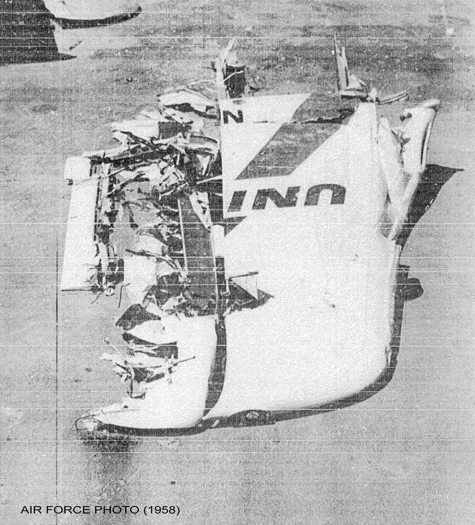 The tail section of United Air Lines flight 736 is shown on April 21, 1958, at the site where it crashed outside Las Vegas. The crash killed 49 people after it collided with an Air Force jet out o ...