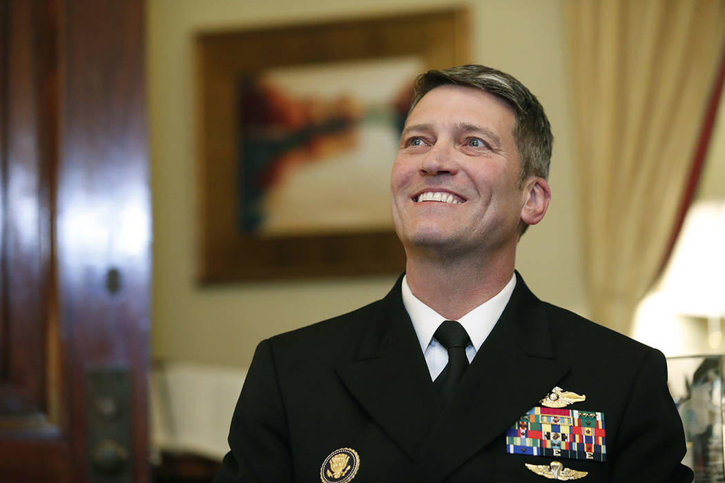 U.S. Navy Rear Admiral Ronny Jackson, is seen on Capitol Hill, Monday, April 16, 2018 in Washington. (AP Photo/Alex Brandon)