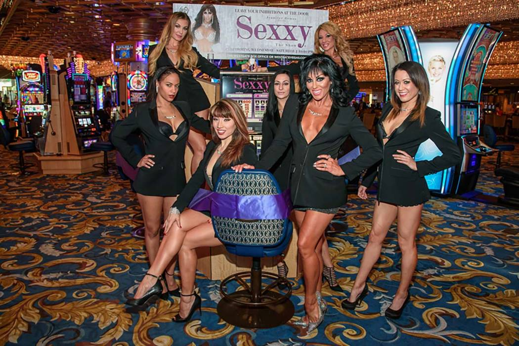 """Jennifer Romas, creator of """"Sexxy,"""" is shown with the cast of the show at Westgate Las Vegas on Saturday, Sept. 23, 2017. (Pat Gray/Erik Kabik Photography)"""