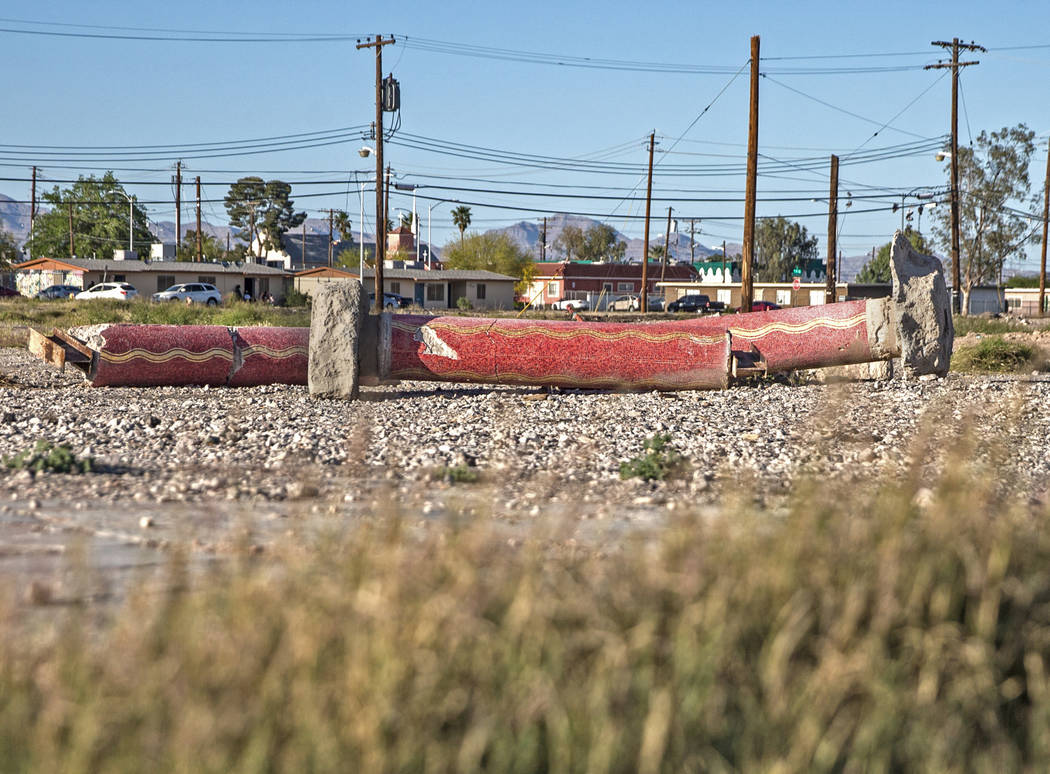 A trio of red mosaic columns are among the few relics left of the Moulin Rouge on Friday, April 20, 2018, in Las Vegas. Benjamin Hager Las Vegas Review-Journal @benjaminhphoto