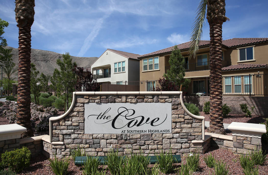 The entrance of the Cove at Southern Highlands and St. Rose parkways photographed on Wednesday, April 18, 2018, where one-and two-story new homes are under construction in Las Vegas. Bizuayehu Tes ...