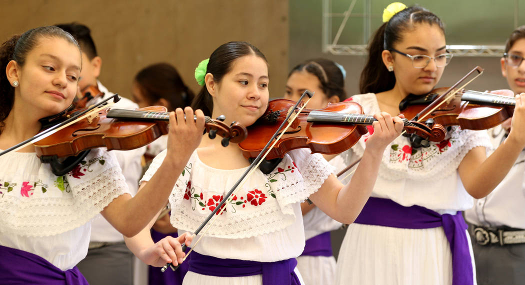 Bridger Middle School Mariachi Band performs Thursday, April 19, 2018, before a news conference to announce plans for the inaugural 1Farm Local Food Farm Festival, at the Las Vegas Springs Preserv ...